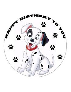 """7.5"""" 101 DALMATIANS PATCH DOG PERSONALISED WAFER/FONDANT PAPER CAKE TOPPER"""