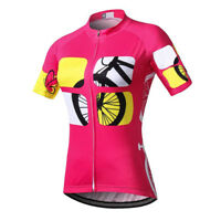 Women's Rosy Cycling Jersey Shirts Short Sleeve Bicycle Cycle Jersey Top S-5XL