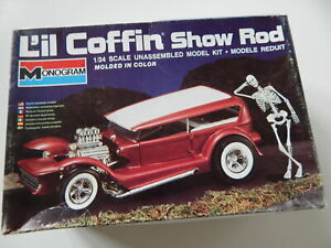 VINTAGE MONOGRAM L'IL COFFIN FORD SHOW ROD  OPEN BOX KIT SEALED PARTS AS IS.