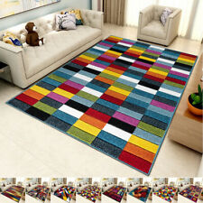 Multi Coloured Funky Bright Modern Thick Rugs Soft Abstract Rug Rainbow Carpets