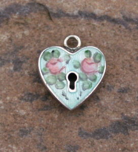 VINTAGE STERLING PUFFY HEART CHARM - Lampl Guilloche Blue Enamel with Keyhole