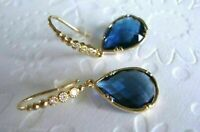 2.50 Ct Pear Cut Sapphire and Diamond Drop Dangle Earrings 14K Yellow Gold Over