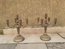 Coppia Di Vecchi Antichi Candelabri In Ottone