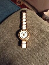 DKNY Watch Ladies steel & ceramic White And Gold Just Needs New Battery