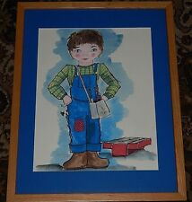 Handy Andrea With all her tools and toolbox. This is an original watercolor.