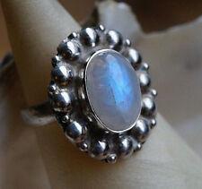 Solitär  Silberring 57 Handarbeit Mondstein Ring 2,17 cm Lang Silber Kugelmuster