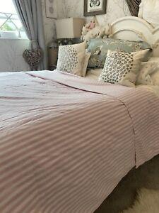 SANDERSON Pink White French Ticking Tiger Stripe King Duvet Cover Shabby Chic