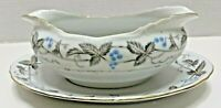 Harmony House China Gravy Boat, Vintage Pattern, Dawn Gray, Horizon Blue Japan