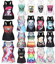 Women Casual 3D Graphic Printed Vest Blouses Gothic Party Punk Raceback T-Shirts