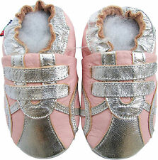 shoeszoo sports silver pink 2-3y S soft sole leather toddler shoes