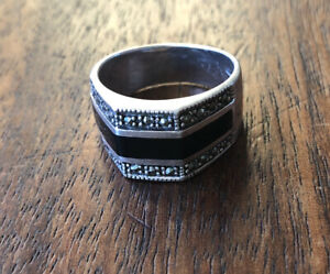 VINTAGE Art Deco Style STERLING SILVER ONYX Marcasite MENS Ring