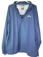 Chargers Football Windbreaker Pullover NFL Jacket XL Climaproof 1/4 Zip Up BLUE