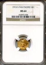 1915-S Pan-Pac G$1 NGC MS64 ~ Commemorative Gold Dollar (454993-008)