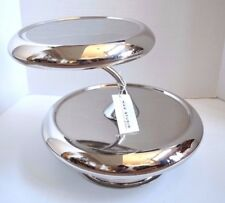 NEW MAX STUDIO HOME SILVER 2 TIER CAKE DESSERT APPETIZER HORS  D'OEUVRE STAND