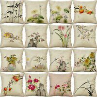 Chinese Style Painting Pillow Case Cotton Linen Cushion Cover Throw Home Decor