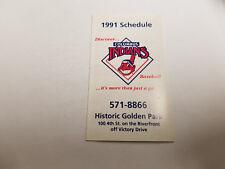 Columbus Indians 1991 Minor Baseball Pocket Schedule - Sea Mist Resort