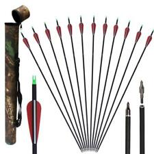 12x 31'' Archery Carbon Arrows Spine 500 Hunting Target & Camo Tube Arrow Quiver