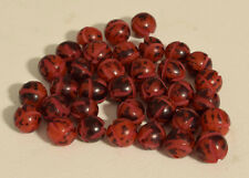 Beads Philippine 10mm Etched Red Black Buri Nut Beads