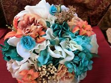 Wedding flowers bridal bouquets decorations sunflowers oasis teal turquoise cora