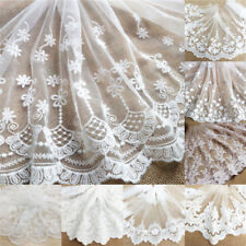 Floral Eyelash Embroidered Lace Trim Tulle Mesh Net Fabric Sewing Dress Crafts