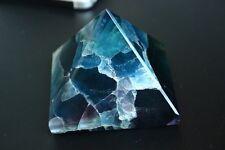 420g NATURAL PRETTY BLUE Bright-coloured FLUORITE CRYSTAL Pyramid HEALING