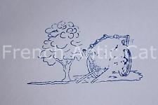 Ancien tampon scolaire original bois paysage charrette foin arbre 7*4 cm AA255
