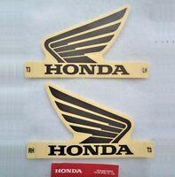 Honda Fuel Tank Sticker Wing Decal Wings x 2 BLACK / CLEAR *** GENUINE HONDA ***