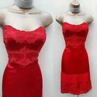 Karen Millen UK 12 Red Silk  Lace Strapless Prom Cocktail Party Wiggle Dress