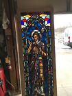 BRick Shop Antique figural painted in fired stained glass window 32 5 x 84 75