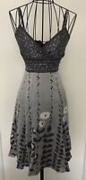 Pretty TED BAKER Grey Pink  Floral 100% Silk A Line Strappy Dress Size 1 UK 8