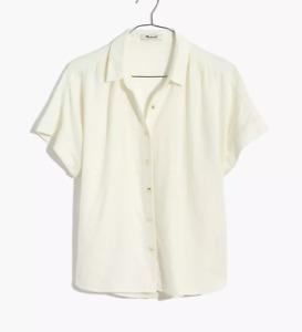Madewell Women Linen-Blend Hilltop Shirt Eyelet White Size XS item #AM837
