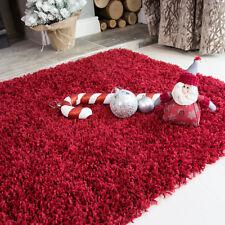 Wine Red Burgundy Dark Shaggy Fluffy Area Living Room Rug Rugs 80cm X 150cm