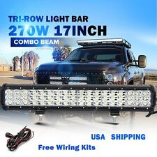 Tri-row 17Inch 270W 27000LM CREE Combo LED Light Bar Offroad Driving Lamps 4WD