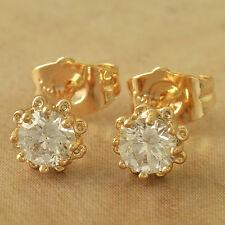 Lovely 9K Solid Gold Filled CZ Womens & Girls Sunflower Stud Earrings,Z4797