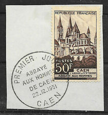FRANCE ABBAYE DE CAEN N° 901 CACHET 1er JOUR 22 12 1951 COTE YT 35 €