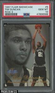 1997-98 Flair Showcase Row 3 #5 Tim Duncan Spurs RC Rookie PSA 10 GEM MINT