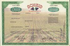 SCHEID VINEYARDS CALIFORNIA OLD STOCK CERTIFICATE DD 2000