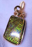 Multi-Colored Canadian Dragonskin Ammolite Gemstone Pendant Handcrafted 14K GF