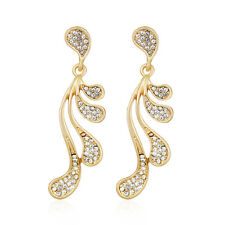 Factory Sale Jewelry White Rhinestone Gorgeous Gold Plated Dangle Earrings