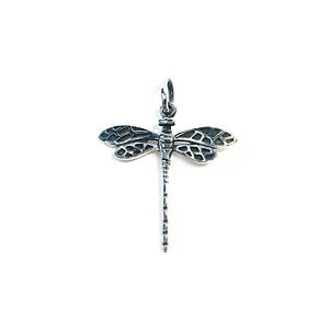 Sterling Silver 925 Antique Finish Dragonfly Insect Nature Pendant & Bail Gift