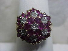 *VINTAGE*1.35ctw NATURAL RED RUBY & DIAMOND FLORAL RING 10K YELLOW GOLD sz6.75