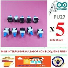 5 MINI INTERRUPTOR PCB 6 pines on/off enclavamiento 7x7x12mm micro Switch PU27