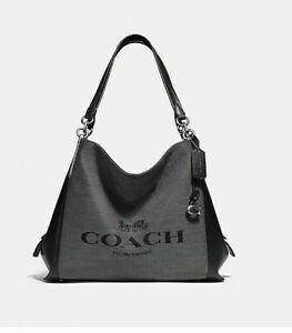 🌺🌹 Coach Dalton 31 Horse And Carriage Jacquard Black/Silver Shoulder Bag