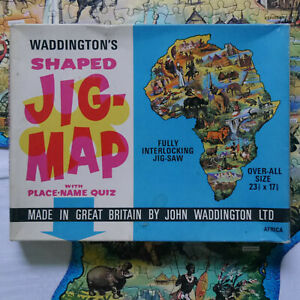 Waddingtons Jig-Map jigsaw puzzle - Africa with box jigmap COMPLETE #F1
