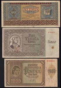 1941 - 1943 Croatia 1000 5000 Kuna Lot 3 Vintage Paper Money Banknote Collection
