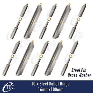 10 x Hinge Greasable Steel Bullet Weld 16x100mm Window Trailer Gate Door Caravan