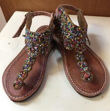 African Leather Maasai Handmade Beaded Sandals T Strap Buckle Beautiful 7 US
