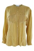 ESCADA Vintage Yellow Silk Collarless Shirt (36)
