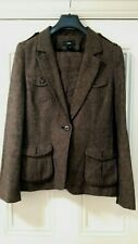 H&M brown linen suit jacket Eur 40 and skirt 38