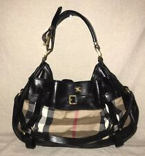 BURBERRY House Check Black Leather Trimmed Bridle Hobo